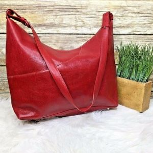 Maxx New York Red Pebbled Leather Shoulder Bag
